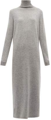 Allude Roll Neck Wool Blend Maxi Sweater Dress - Womens - Dark Grey