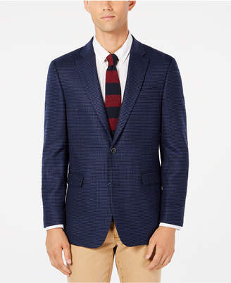 Tommy Hilfiger Men Modern-Fit Th Flex Stretch Navy/Blue Houndstooth Sport Coat
