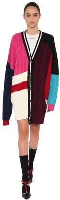 MSGM Oversized Patchwork Wool Cardigan