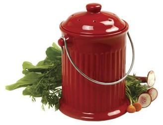 Norpro 1 gal Red Ceramic Compost Keeper Crock
