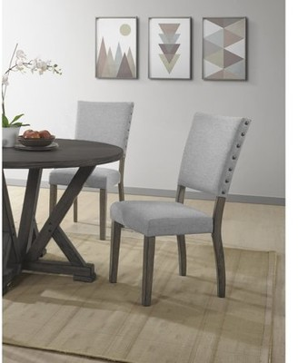 Best Master Furniture Anna Antique Light Gray Side Chair (Set of 2)