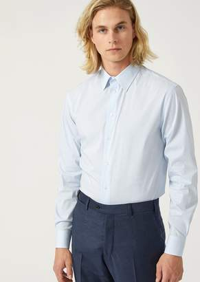 Emporio Armani Modern Fit Striped Cotton Shirt With Classic Collar