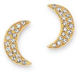 Moon & Meadow 14K Yellow Gold Diamond Moon Stud Earrings - 100% Exclusive