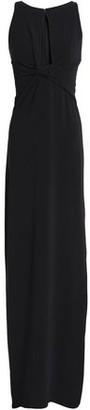 Halston Twist-Front Cutout Crepe Gown