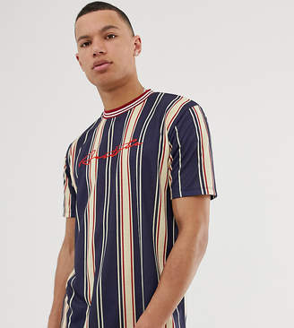 Asos Design DESIGN Tall relaxed t-shirt in vertical stripe with aesthetic embroidery
