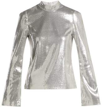 Galvan - Galaxy Long Sleeved Sequined Top - Womens - Silver
