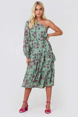 Andrea Hedenstedt X Na Kd One Shoulder Flounce Midi Dress Green Flower