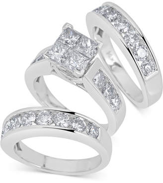Macy's Diamond 3-Pc Princess Bridal Set (4 ct. t.w.) in 14k White Gold