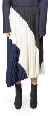 Cédric Charlier Asymmetrical Pleated Skirt
