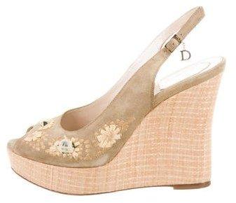 Christian Dior Suede Peep-Toe Wedges