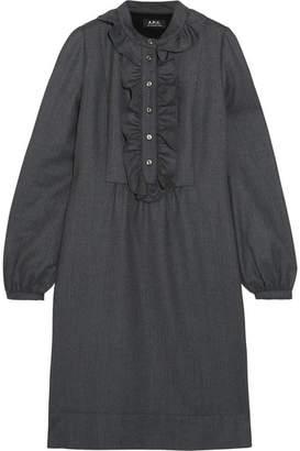 A.P.C. Anita Ruffle-trimmed Wool Dress - Gray