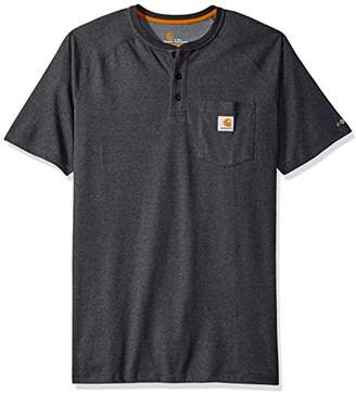 Carhartt Men's Big & Tall Force Cotton Delmont Short Sleeve Henley Relaxed Fit, X-Large/Tall