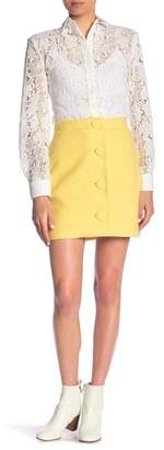 Paul & Joe Sister Darya Virgin Wool Blend Front Button Mini Skirt