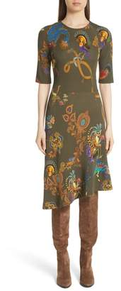 Etro Lemur Print Asymmetrical Dress