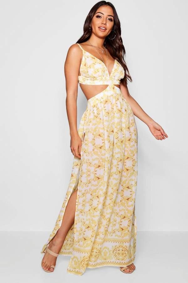 Scarf Print Cut Out Maxi Beach Dress
