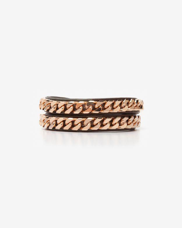 Vita Fede Exclusive Monaco Double Wrap Leather/chain Bracelet: Army
