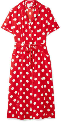 DAY Birger et Mikkelsen HVN - Maria Polka-dot Silk Crepe De Chine Dress - Red