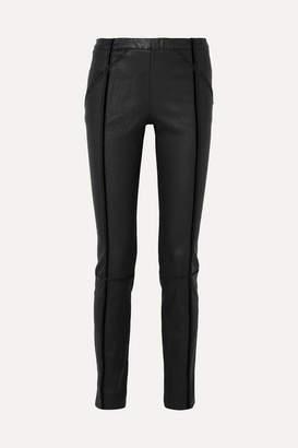 Haider Ackermann Velvet-trimmed Stretch-leather Skinny Pants - Black