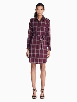Calvin Klein plaid belted shirt dress