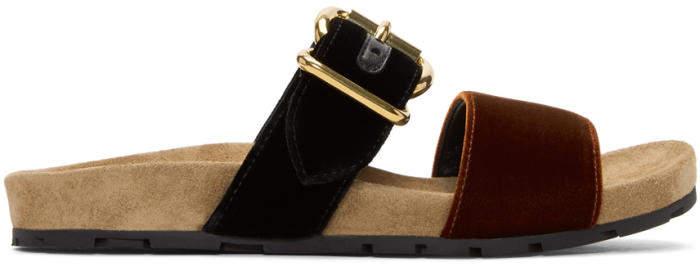 Prada Black and Brown Single Buckle Velvet Sandals