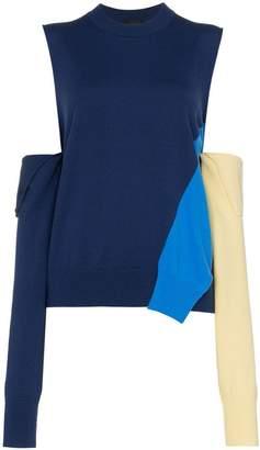 Calvin Klein Blue wool cold shoulder jumper