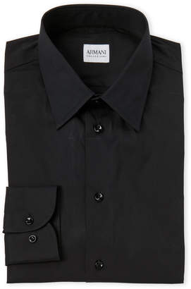 Armani Collezioni Black Cotton Dress Shirt