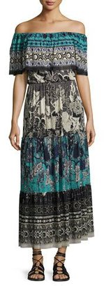 Fuzzi Ruffled Off-the-Shoulder Patchwork Maxi Dress, Black Pattern $695 thestylecure.com