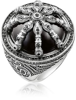 Thomas Sabo Blackened Sterling Silver Ring w/Black Zirconia and Onyx