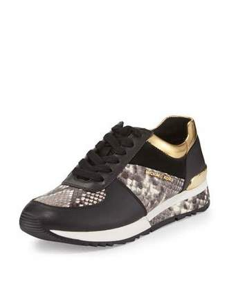 MICHAEL Michael Kors Allie Mixed-Media Trainer Sneaker, Natural/Black $155 thestylecure.com