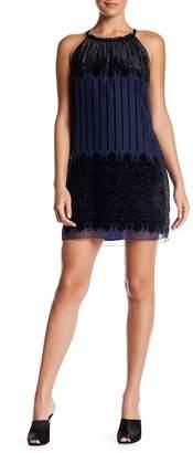 Max Studio Print Velvet Halter Dress