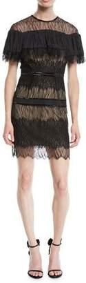 Halston Pleated Lace Mini Dress w/ Beading