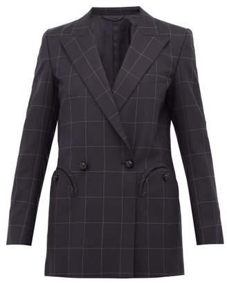 BLAZÉ MILANO Chacco Kid Windowpane Checked Wool Blazer - Womens - Navy Multi