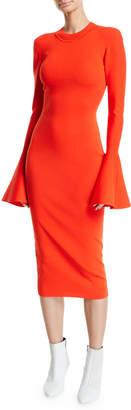 SOLACE London Corvo Crewneck Long Bell-Sleeve Midi Dress