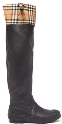 Burberry Freddie Vintage Check Rain Boots - Womens - Black Beige