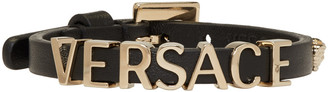Versace Black Leather Logo Bracelet