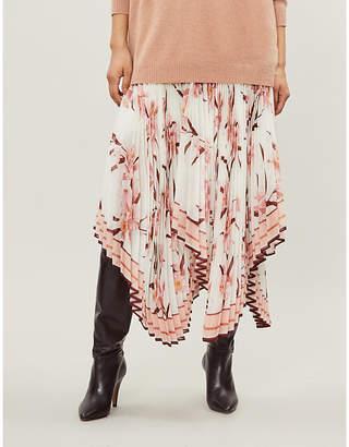 Zimmermann Floral-print crepe pleated skirt
