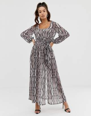 Asos Design DESIGN belted snake print maxi dress