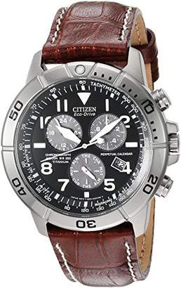 Citizen Men's Eco-Drive Titanium Chronograph Watch with Perpetual Calendar and Date