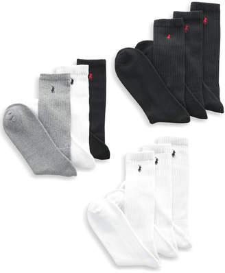 Polo Ralph Lauren Men Socks, Extended Size Classic Athletic Crew 3 Pack