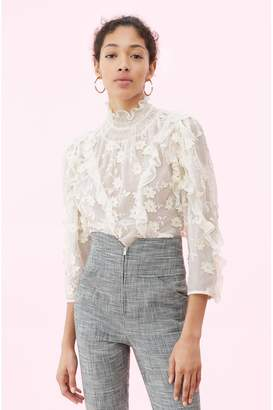 Rebecca Taylor Silk Embroidered Ruffle Top