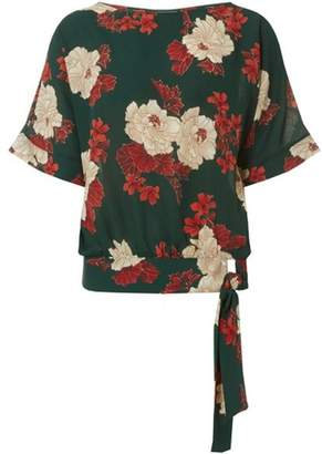 Dorothy Perkins Womens Green Floral Tie Side Top