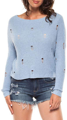 Dex Long-Sleeve Distressed Crop Sweater