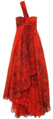 Emilio Pucci One-shoulder Embellished Printed Silk-chiffon Gown
