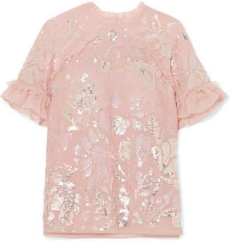 Needle & Thread Tulle-trimmed Sequined Georgette Blouse - Baby pink