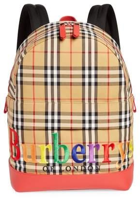 Burberry Nico Check Rainbow Logo Backpack