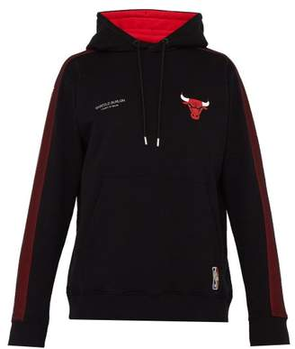 Marcelo Burlon County of Milan Chicago Bulls Loopback Cotton Hooded Sweatshirt - Mens - Black Multi