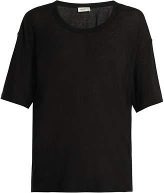 Saint Laurent Scoop-neck cotton-blend T-shirt