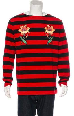 Gucci 2016 Striped Floral-Embroidered T-Shirt w/ Tags