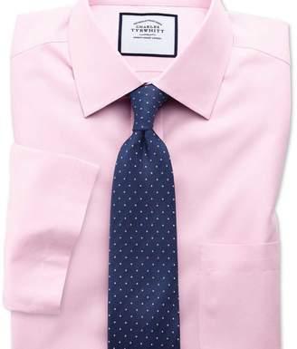 Charles Tyrwhitt Classic fit non-iron poplin short sleeve pink shirt