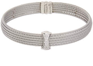 Alor 18K White Gold Stainless Steel 0.12 Ct. Tw. Diamond Cable Bracelet